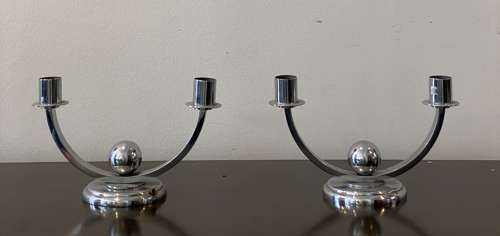 Pair chrome candlesticks Cl940