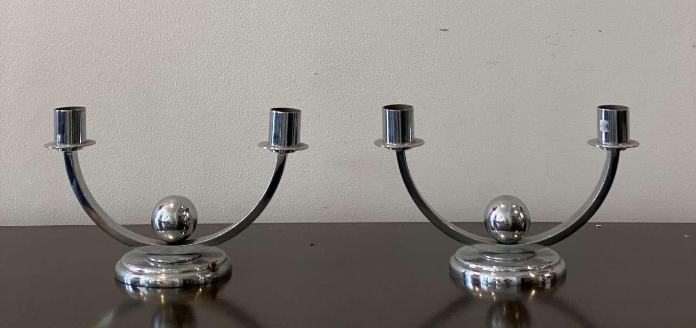 Pair chrome candlesticks Cl940