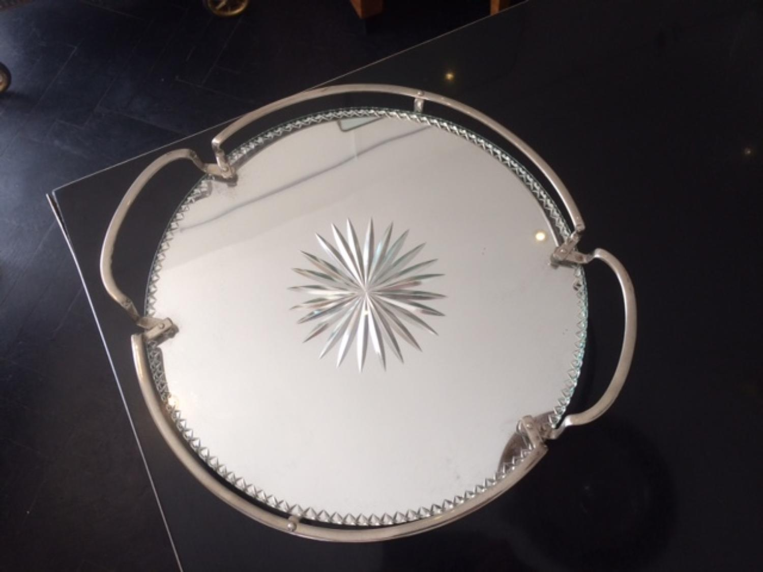 Mirrored round tray