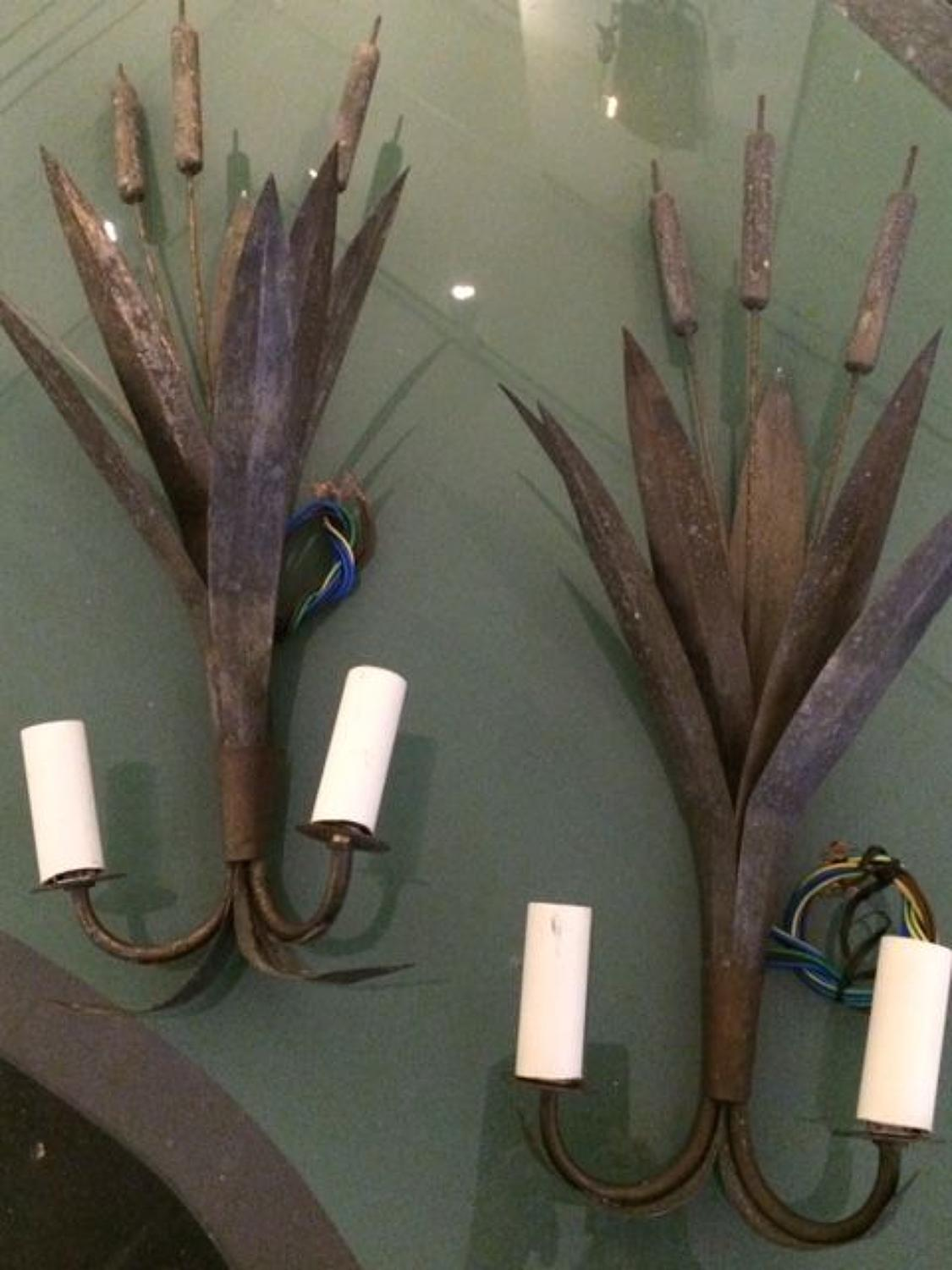 Pair of 'bulrush' metal wall lights