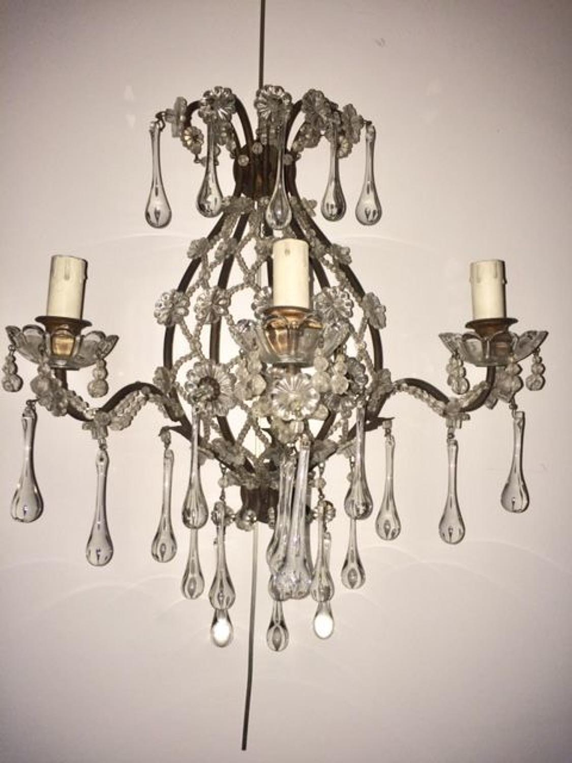 Pair of wall lights with glass flowers and tear drops