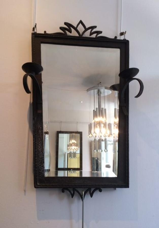 Pair of wrought iron framed mirrors