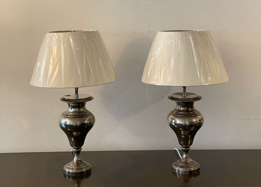 Pair of silvered lamps