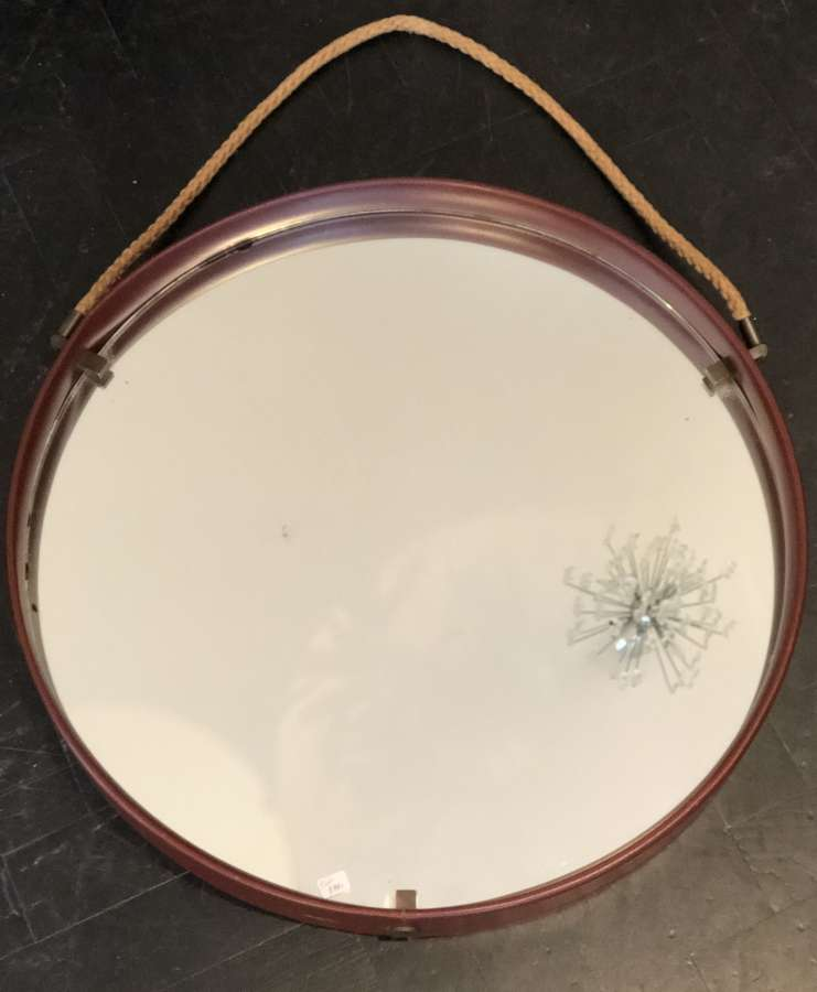 French Leather Rope Mirror - 40s