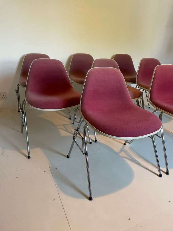 Set of 8 60s Fibreglass Charles Eames Chairs