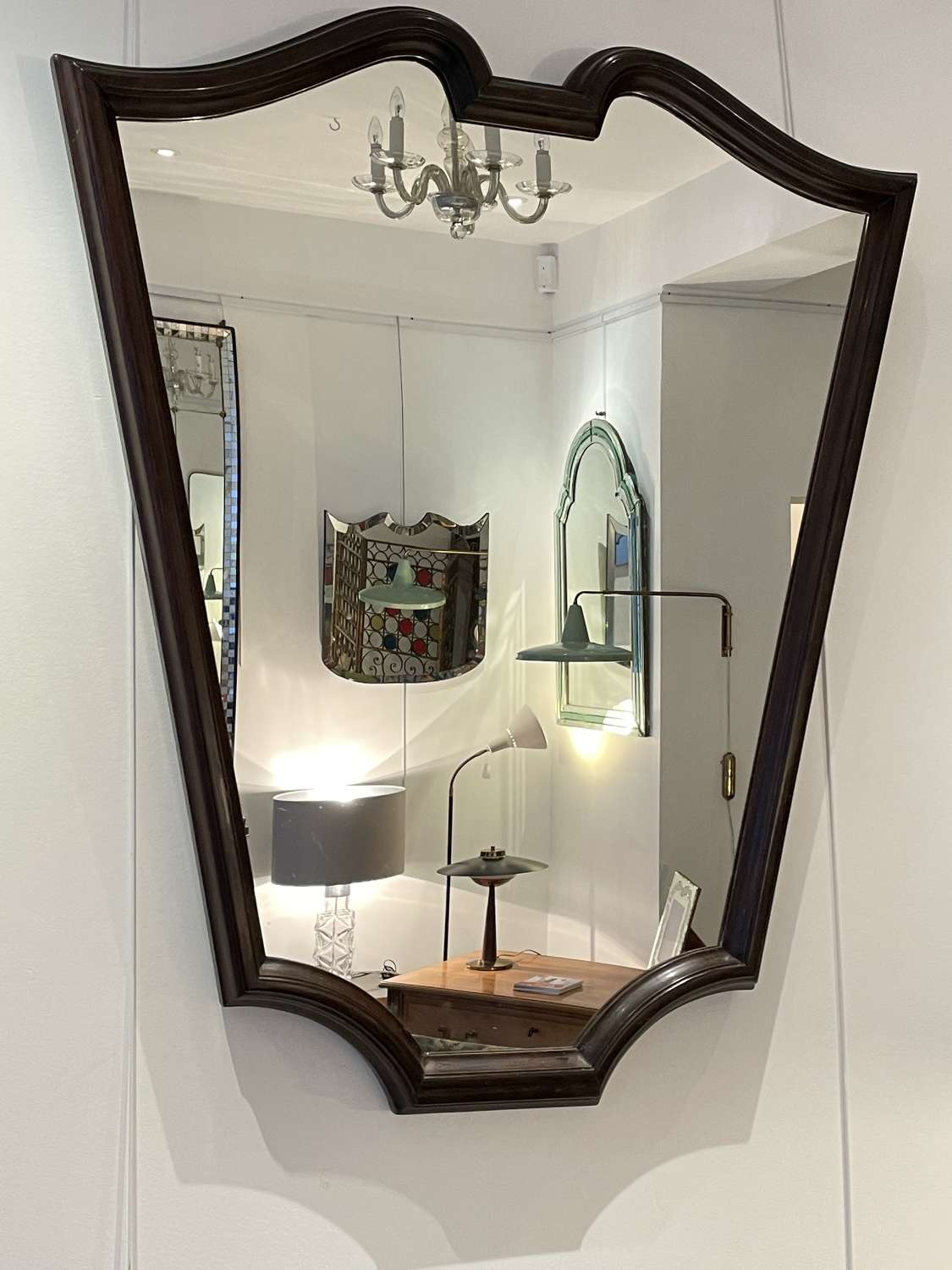 Large French Mahogany Overmantel Mirror - 40s