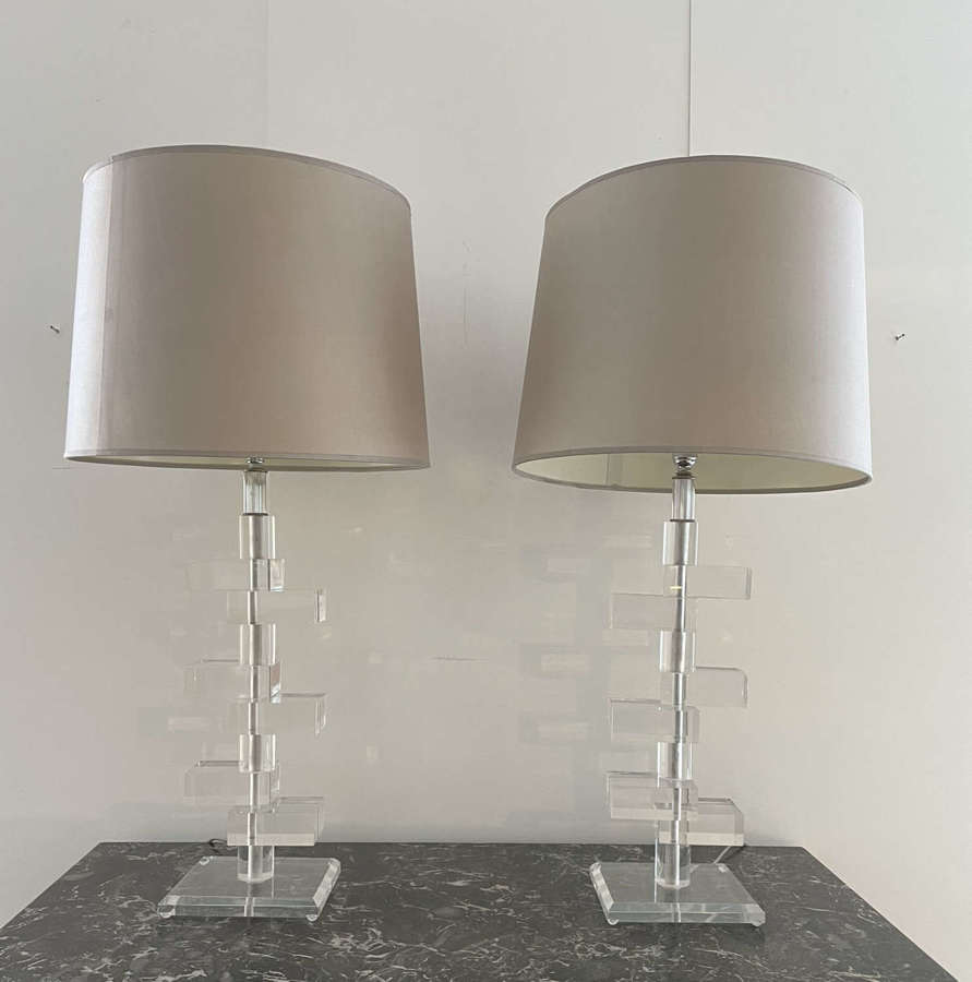 Pair of Mid Century Sculptural Translucent Lucite Table Lamps