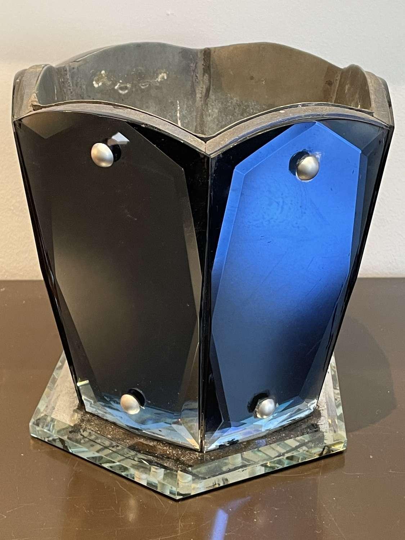 Art Deco Blue Mirrored Vase