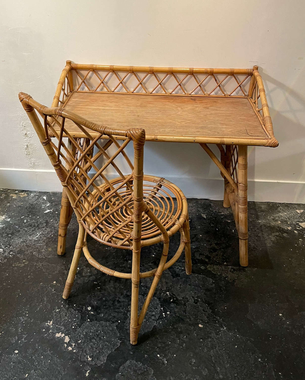 French 60s Bamboo Desk & Chair