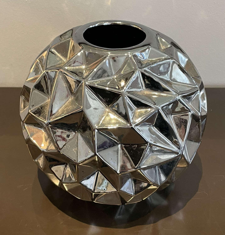 Silver Ceramic Globe Vase
